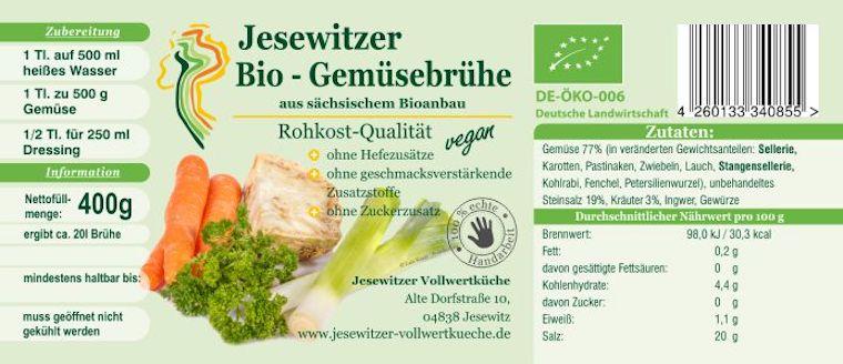 Die Inhaltstoffe der Jesewitzer Bio-Gemüsebrühe